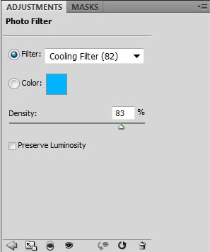 Screen-shot of settings for my Photo Filter to create a blue rim light to the right of my figures.