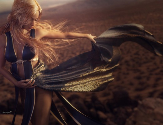 Woman holding cloth and dancing in the desert, with wind blowing on cloth and wind-swept hair.