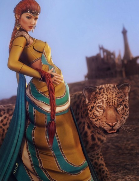 Woman wearing a sari standing next to a Jaguar in the desert with ruins in the background.