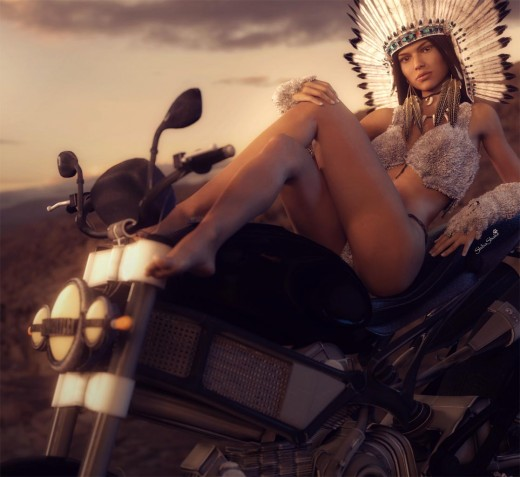 Pin-up girl dressed in Native American headdress, sitting on a classic motorcycle.