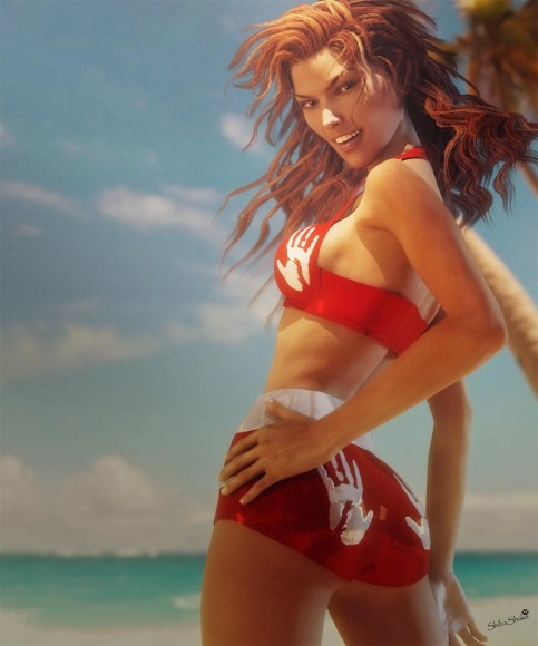 Woman wearing red vintage swimsuit doing a sexy pin-up pose and smile on the beach.