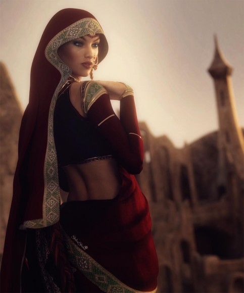 Woman wearing a veil and sari, with interesting ruins in the distance.