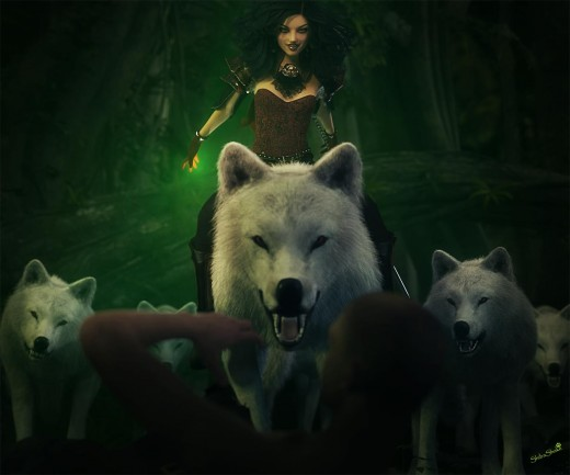 Woman magician with an evil smile leading her white wolf pack on a hunt.