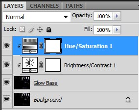 Screenshot of my Photoshop layers after adding adjustment layers to my Glow Base layer.