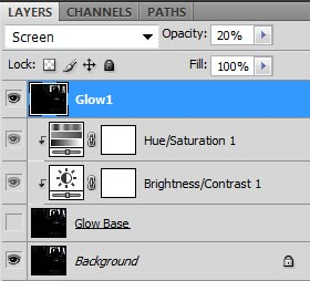 Screenshot of my first glow layer (Glow1) with blend mode set to screen and opacity set to 20%.