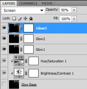 Screenshot of my three glow layers with increasing Gaussian Blur and increasing opacity.