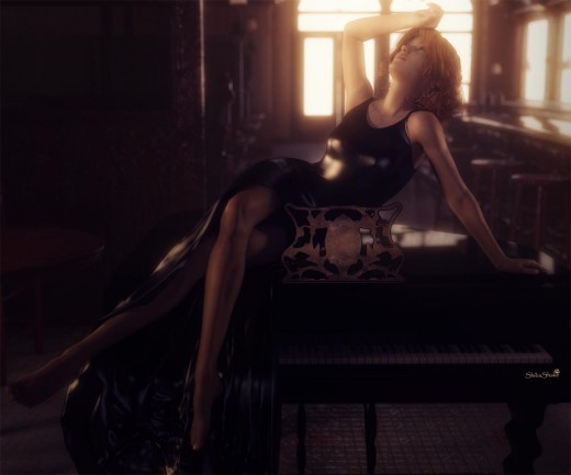 Woman sitting on top of a black piano in a bar. Warm light glow coming through the windows.