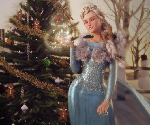 Frozen's Queen Elsa standing in front of a Christmas tree, with an ice spell on her right hand.