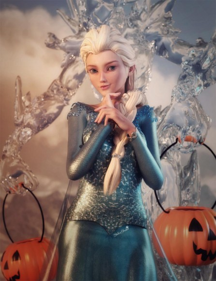 Image of Queen Elsa standing in front of an ice golem, who is holding two pumpkin Halloween candy baskets.