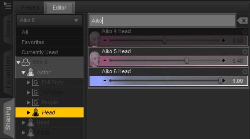 Screenshot of the Daz Studio interface on how to dial in face morphs.