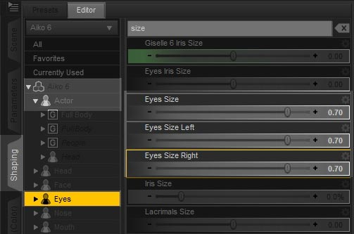Screenshot of the Daz Studio interface on how to increase our character eye size.