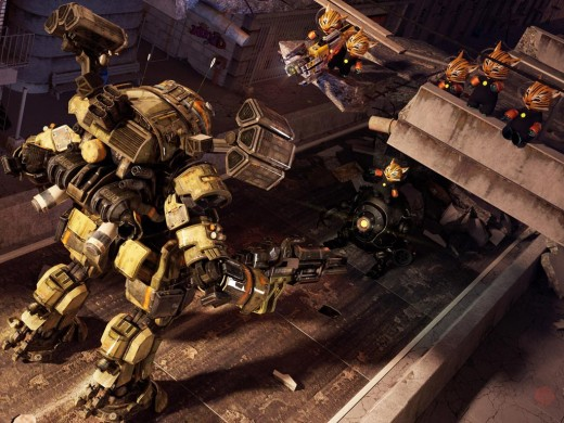 A team of Space Kittens in a battle with a large mech.