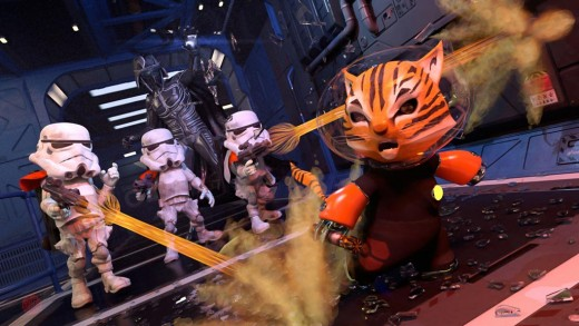 Space Kitty running away while being shot at by super deformed storm troopers. Star-wars fan art.