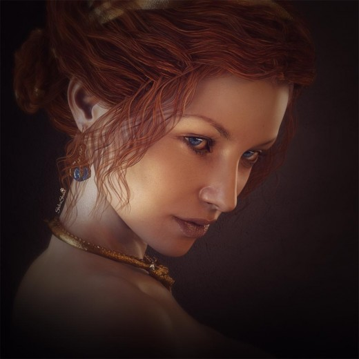 Portrait of a lady with red hair and very blue eyes. She is wearing gold dragon jewelry with blue gemstones.
