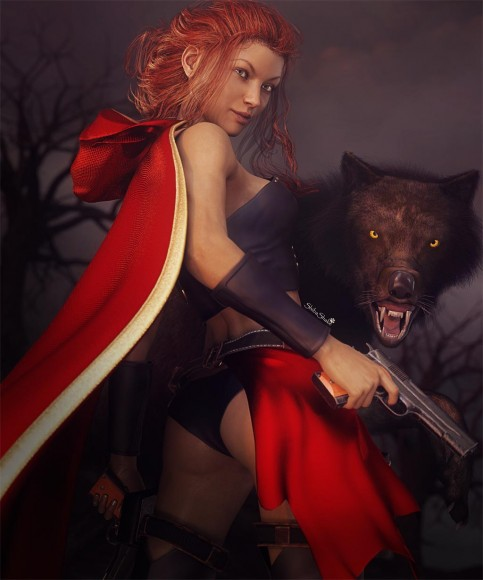 Red-hair girl wearing a red clock with hood down, black leather, and a red skirt. She is carrying two guns and is with her big black wolf.