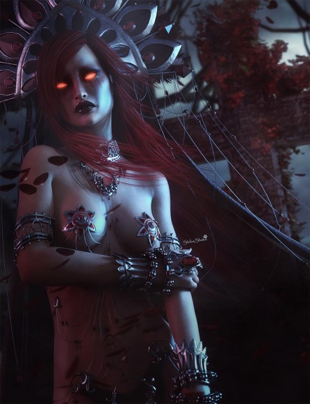 Vampire girl wearing the Kali outfit and headdress with red hair and red glowing eyes. Red petals are blowing in the wind in this night scene.