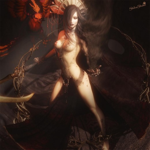 Sorceress fantasy woman, holding a scythe with a Phoenix familiar. She is casting a dark spell on her left hand and surrounded by thorns.
