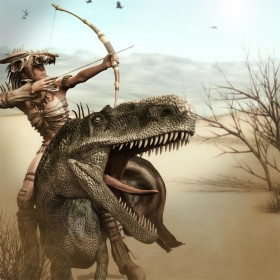 Archer girl riding on a desert lizard hunting for her supper.