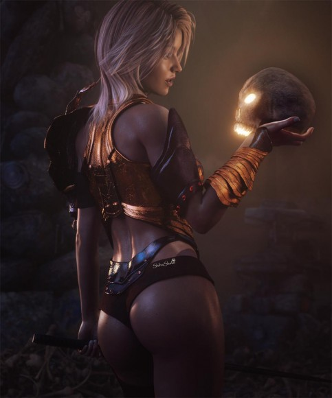 Fantasy warrior woman in sexy armor talking to a glowing skull. Floor is littered with skull and bones, with cairns (stacks of stones) in the background.