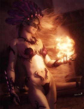 Sexy sorceress wearing a mask and headdress with feathers, creating a ball of light on her left hand.