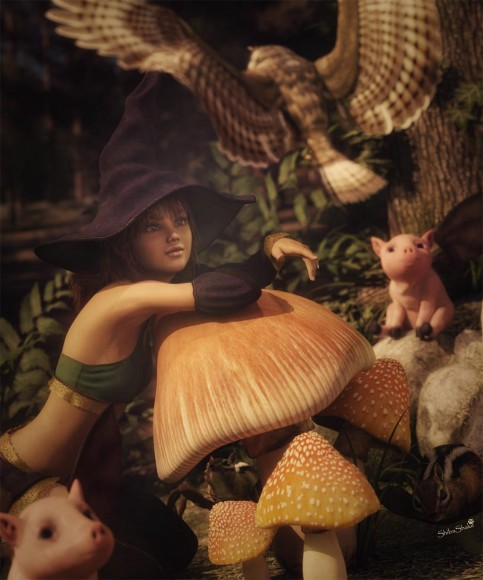 Cute pixie girl wearing a witch hat, resting against a mushroom, with many fantasy creatures around her.