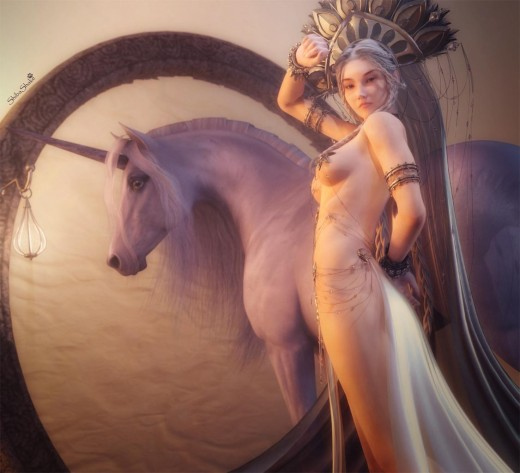 A princess with white flowing skirt and a large headdress standing with her white unicorn in front of a circular portal.