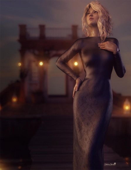 Elegant girl in a long tight dress standing on a dock in front of a little cottage. There are lanterns all around the cottage casting warm light reflections on the water.