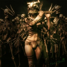 Pied-piper girl, wearing a bone helmet,  playing a flute to a group of skeletons.