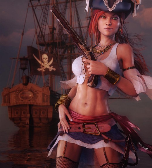 Redhead pirate girl pin-up with her smiling and holding a gun. Pirate ship with flag in the background.