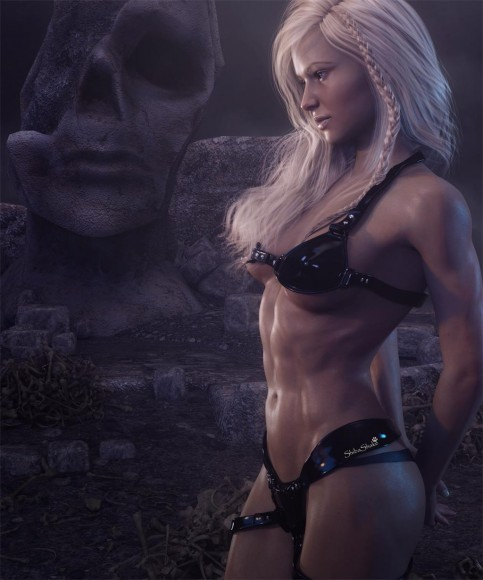 Sad fantasy woman warrior with head bent, standing in front of a strange stone statue head, with bones strewn on the floor.