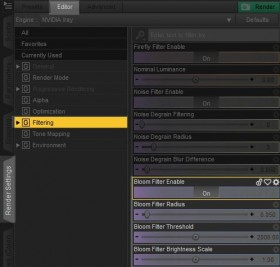 Screenshot of the Render Settings interface in Daz Studio Iray, showing how to enable bloom/glow effects during render.
