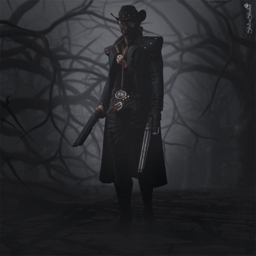 Undead gunslinger with two large guns, wearing a cowboy hat, and long dark coat. He is standing on a road surrounded by spooky dark trees.