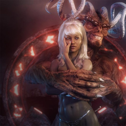 White haired fantasy girl being embraced from behind by a smiling horned Devil. Red portal with glowing letters in the background.