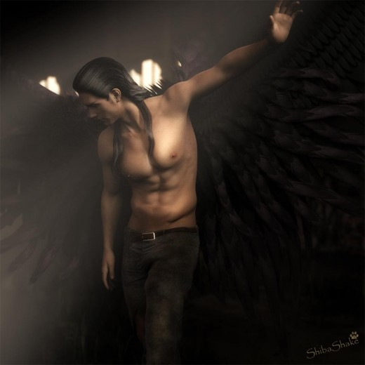 An angel with black wings turning away from a beam of light.