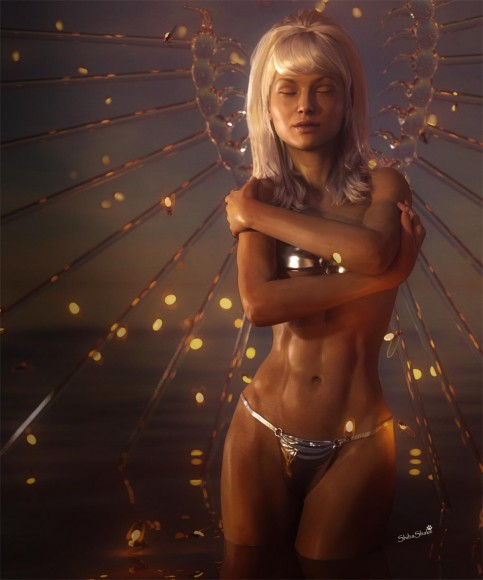 White haired fantasy water angel, with water wings and standing in the sea. She is hugging herself and is surrounded by fireflies.