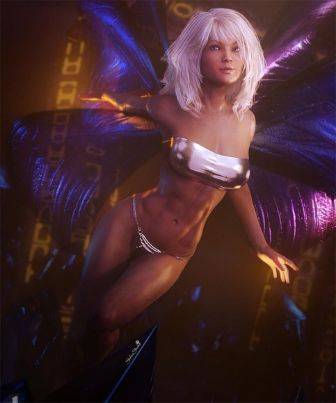 Fantasy art fairy with white hair and blue wings flying in a Crystal Realm.