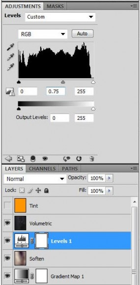 Photoshop screenshot of our layer stack after adding the Levels adjustment layer for increasing contrast.