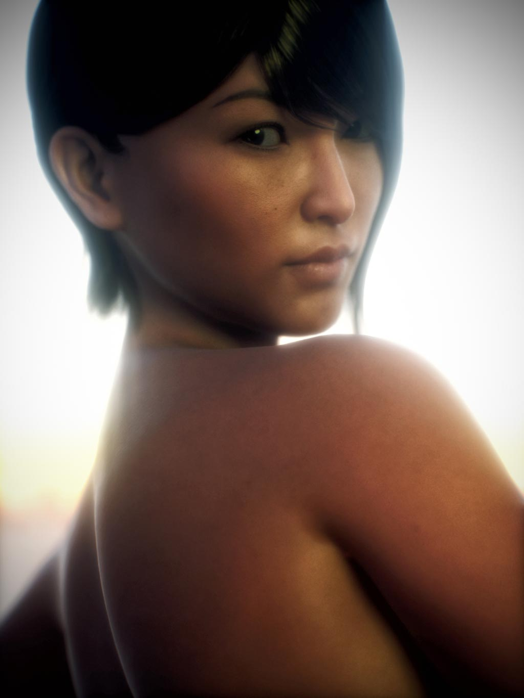 Asian woman portrait with realistic Octane skin shader. Rendered in Daz Studio Octane.