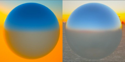 Screenshot of  the Octane generated daytime environment vs. the HDR texture environment.