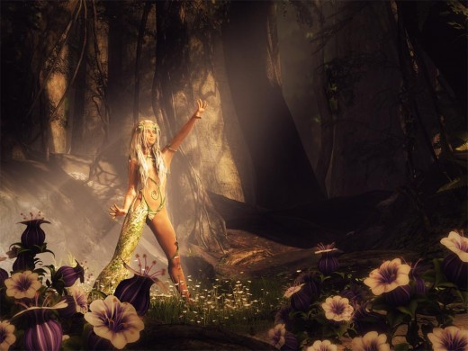 Forest dryad calling in a light beam to rejuvenate the plants and encourage new growth.