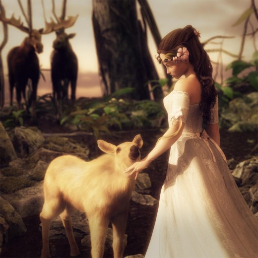 Fantasy art of a girl in a white dress and flowers in her hair bidding farewell to a baby moose that she has rescued. The proud moose parents are in the background.