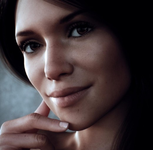 Close-up portrait of a dark-eyed woman, smiling at the camera. Digital art, rendered in Daz Studio Octane.