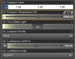 Daz Studio Iray shader settings for our Emissive Hair.