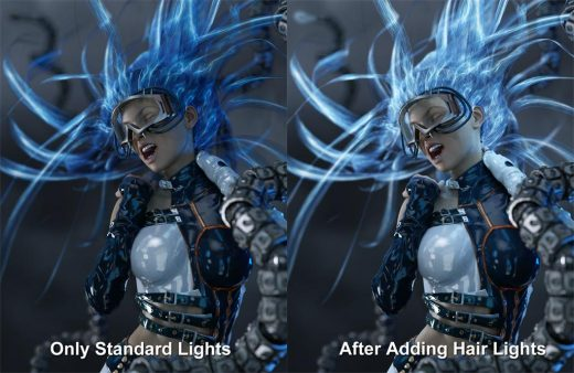 Image comparison of how things look after adding in our low and strong hair emission light layers.