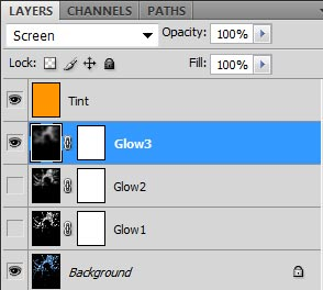Photoshop layer stack for adjusting my hair glow layer. In this case, I only enable the Glow 3 layer and set its opacity to 100%.