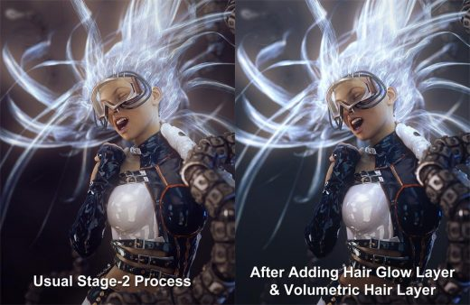 Image comparison of how things look after adding in our Hair Glow Layer and Volumetric Hair Layer.