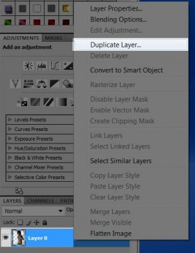 Photoshop screenshot of how to duplicate a layer from one image file into another.
