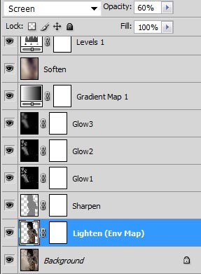 Screenshot of our image layer stack after adding the lighten and sharpen layers.