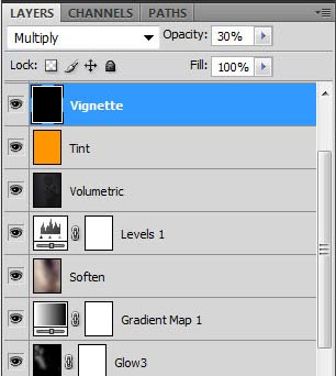 Photoshop screenshot of our layer stack after adding tint and a vignette layer.