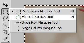 Photoshop screenshot of selecting the Elliptical Marquee Tool.